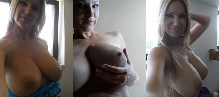 Versaute Hausfrau beim Telefon Sex Tittenfick